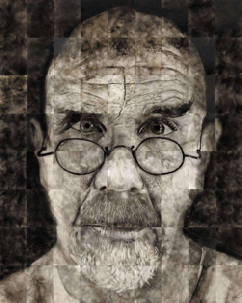 Как художники рисуют огнем - Стивен Спазук (Steven Spazuk): огромный автопортрет, составленный из отдельных листов