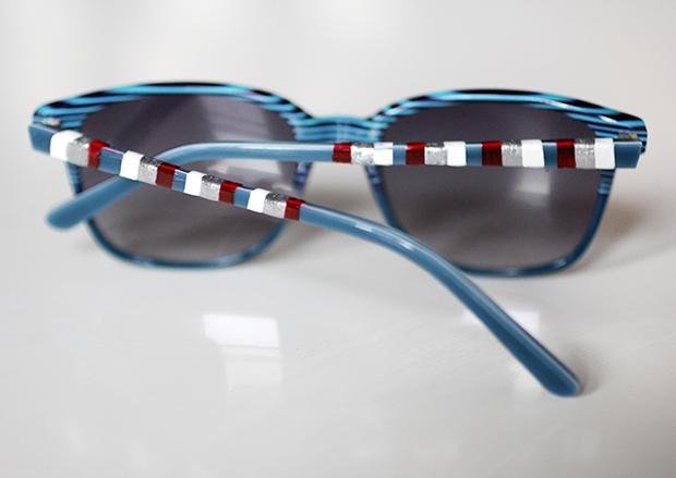 создание полосок на солнцезащитных очках лаком для ногтей