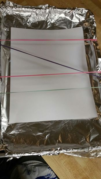Растяните резинки и наденьте их на форму