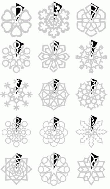 как перевести узор снежинки на сложенную уголком бумагу