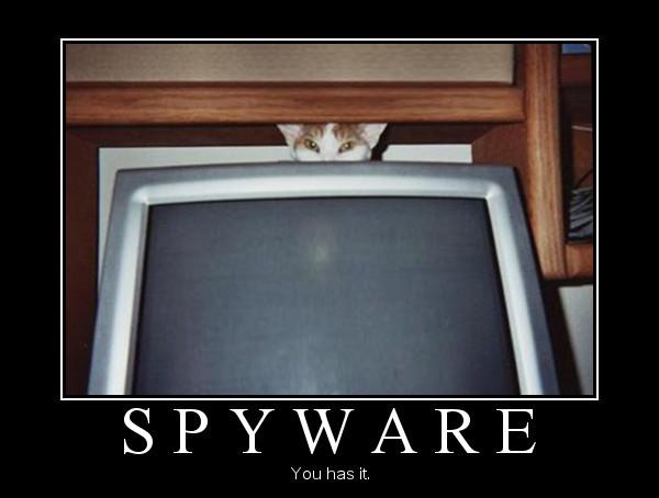 демотиватор с котом: шпионское ПО