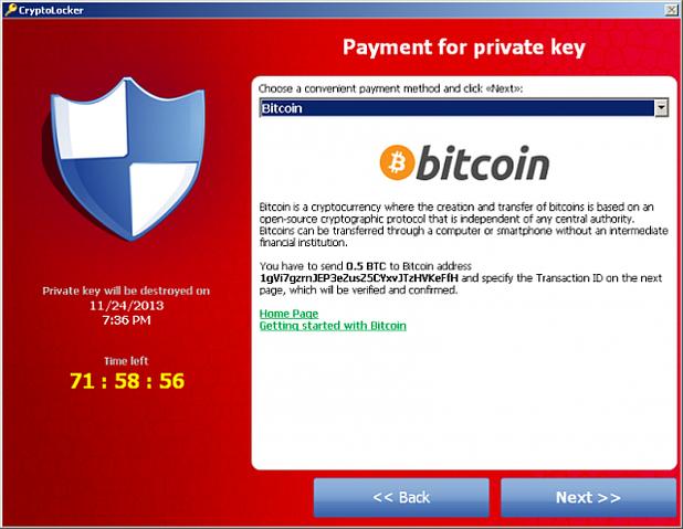 окно Ransomware, блокирующее компьютер