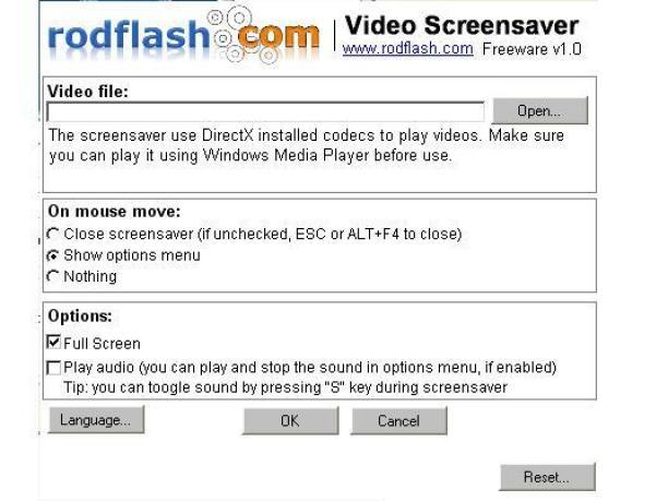 использование программы для создания скринсейверов Rodflash Video Screensaver версии 1.0 скрин Параметры экранной заставки