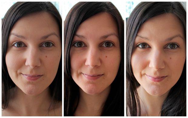 На снимке слева направо: - без увлажняющего средства для ухода за кожей и макияжа, - только с самодельным BB-кремом на лице, - с BB-кремом, закрепленным покупной пудрой + румяна и тушь.