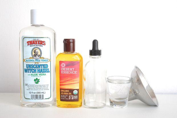 ингредиенты и материалы для универсального домашнего средства для снятия макияжа