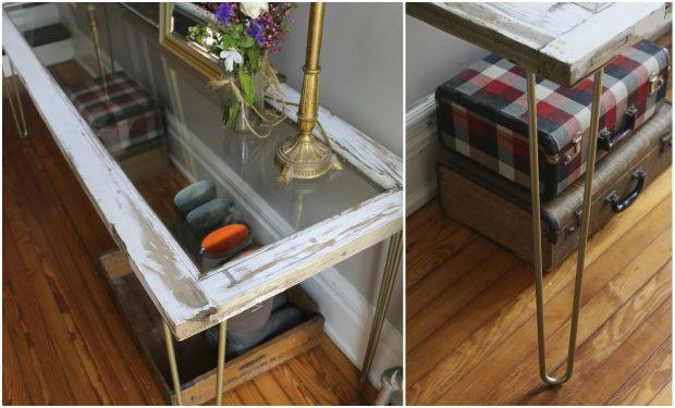 готовый стол из кухонной или межкомнатной двери со стеклом