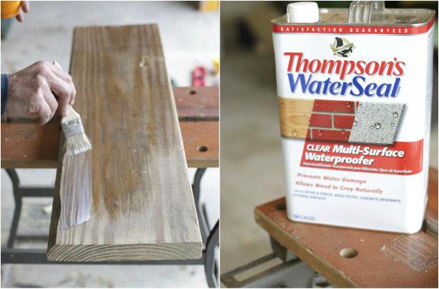Положите водостойкое покрытие на все грани вашего столика, используя кисть