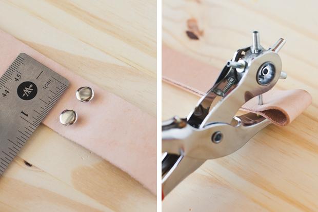 проколите специальным инструментом или шилом отверстия для заклепок
