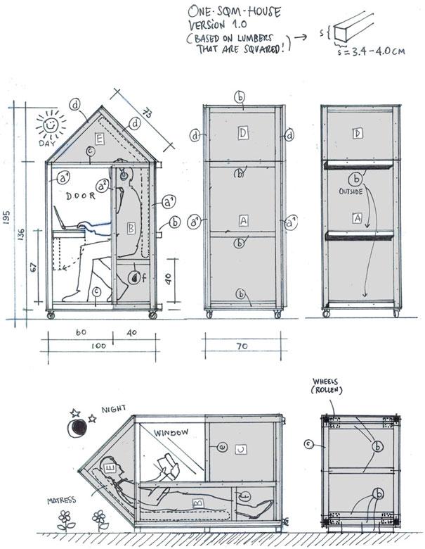 Как выглядит Топ-10+ домов мира с самой экстравагантной планировкой - Самый маленький дом в мире – 1 метр квадратный - планировка