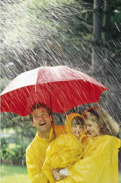 Пончо, плащ от дождя - яркие желтые плащи, семья под красным зонтом