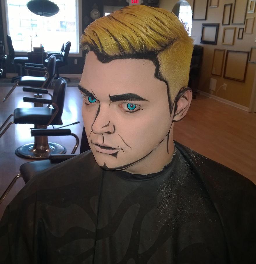 самый жуткий грим на Хэллоуин: парень из комиксов/живой поп-арт