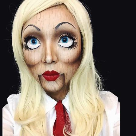 самый жуткий грим на Хэллоуин: деревянная кукла