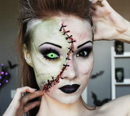 самый жуткий грим на Хэллоуин: современный Франкенштейн, собранный из разных рас