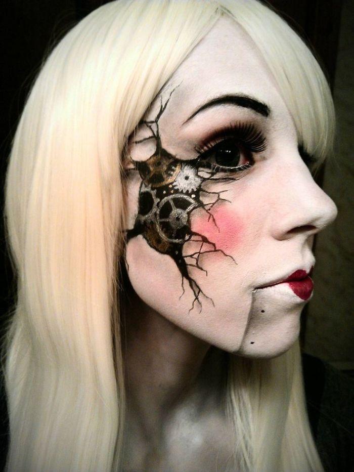 самый жуткий грим на Хэллоуин: механическая фарфоровая кукла