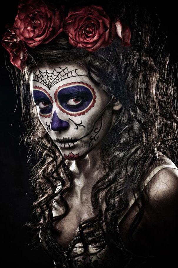 самый жуткий грим на Хэллоуин: сахарный череп - мексиканское национальное