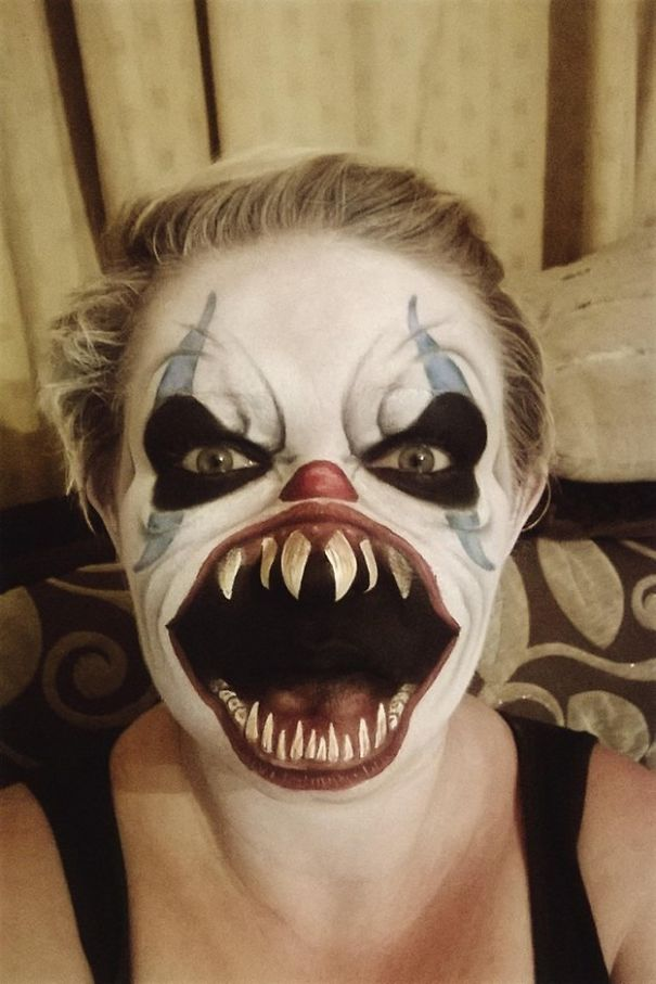 самый жуткий грим на Хэллоуин: злобный клоун или Коломбина из Ада