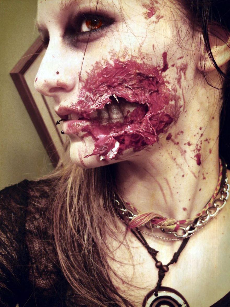 самый жуткий грим на Хэллоуин: свежий укус зомби