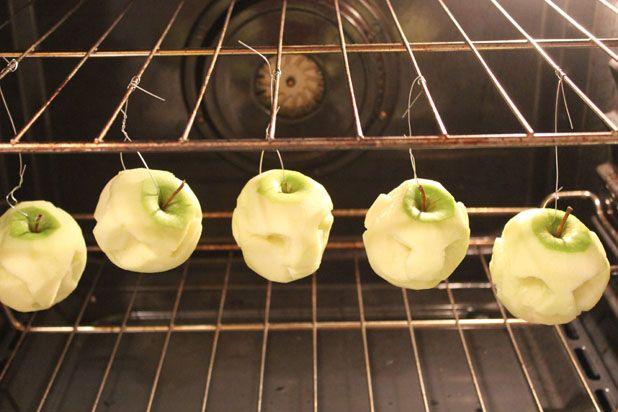 сушеные головы - декор на Хэллоуин: подвесьте за эту проволоку яблоки на сетку и отправьте в духовку