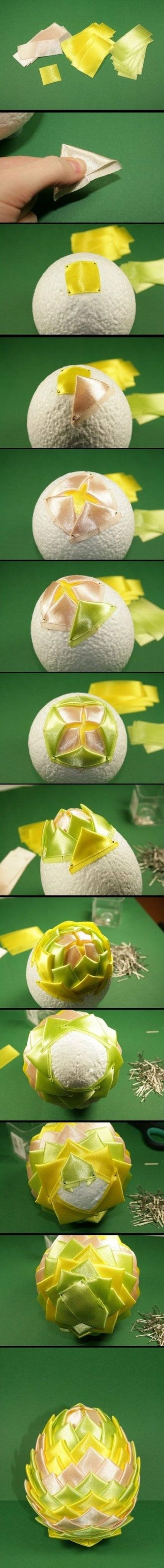пошаговая схема создания шишек из ткани и бумаги в картинках