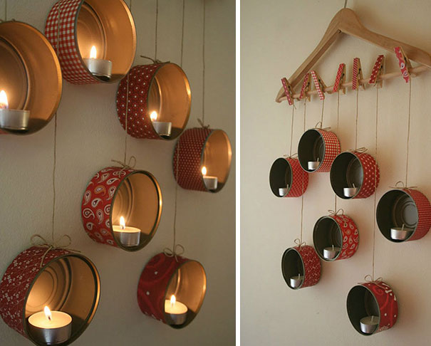 Навесная композиция подсвечников из декорированных консервных банок, деревянных прищепок и деревянной вешалки