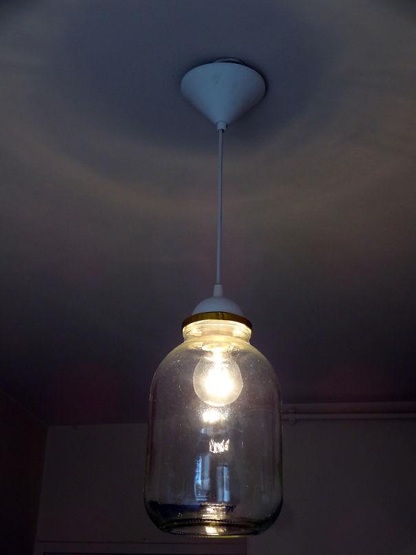 Кухонная лампа из трехлитровой банки