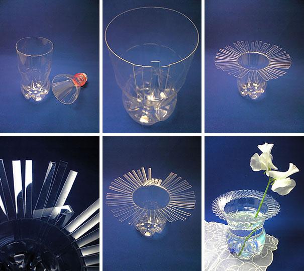 Изумительная ваза из пластиковой бутылки: пошаговая инструкция в картинках