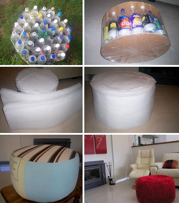 Оттоманка из пластиковых бутылок: все этапы работы проиллюстрированы на снимках