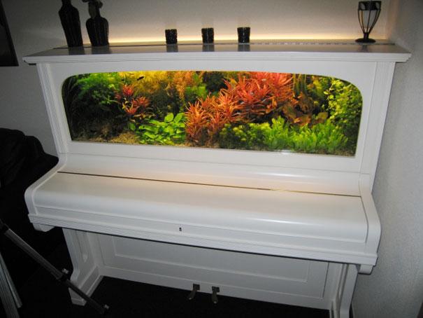 Аквариум, встроенный в полуразобранное пианино