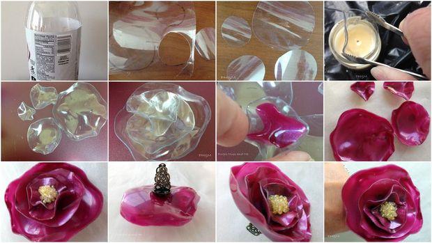 Кольцо-цветок из пластиковой бутылки: пошаговая инструкция на снимках