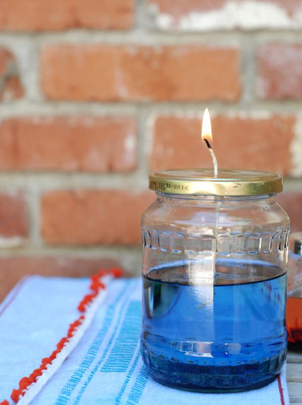 свеча из банки с маслом