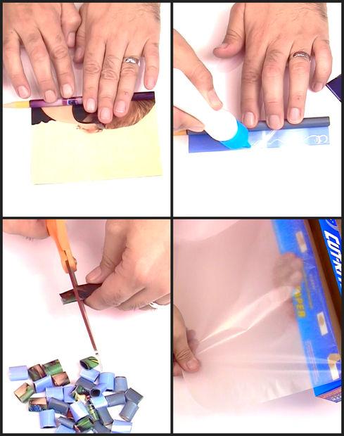правильно скручиваем бумагу в трубочки для поделок и режем трубочки