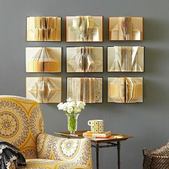 Сгибаем страницы книг в фигуры: панно из геометрических фигур из книг
