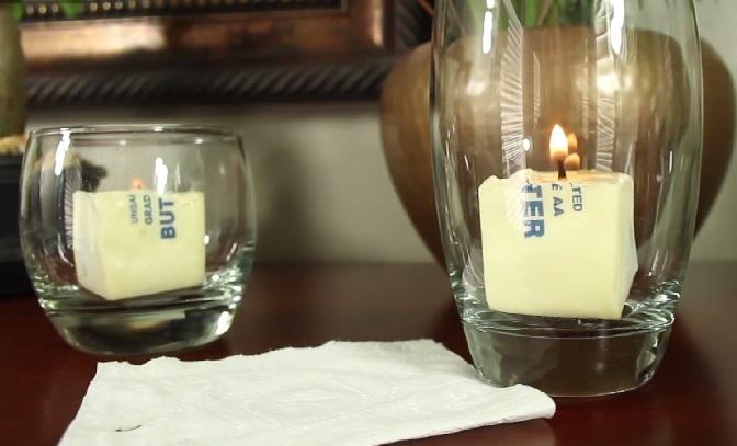 Чтобы пламя было ровнее, можно поставить свечу в прозрачный бокал