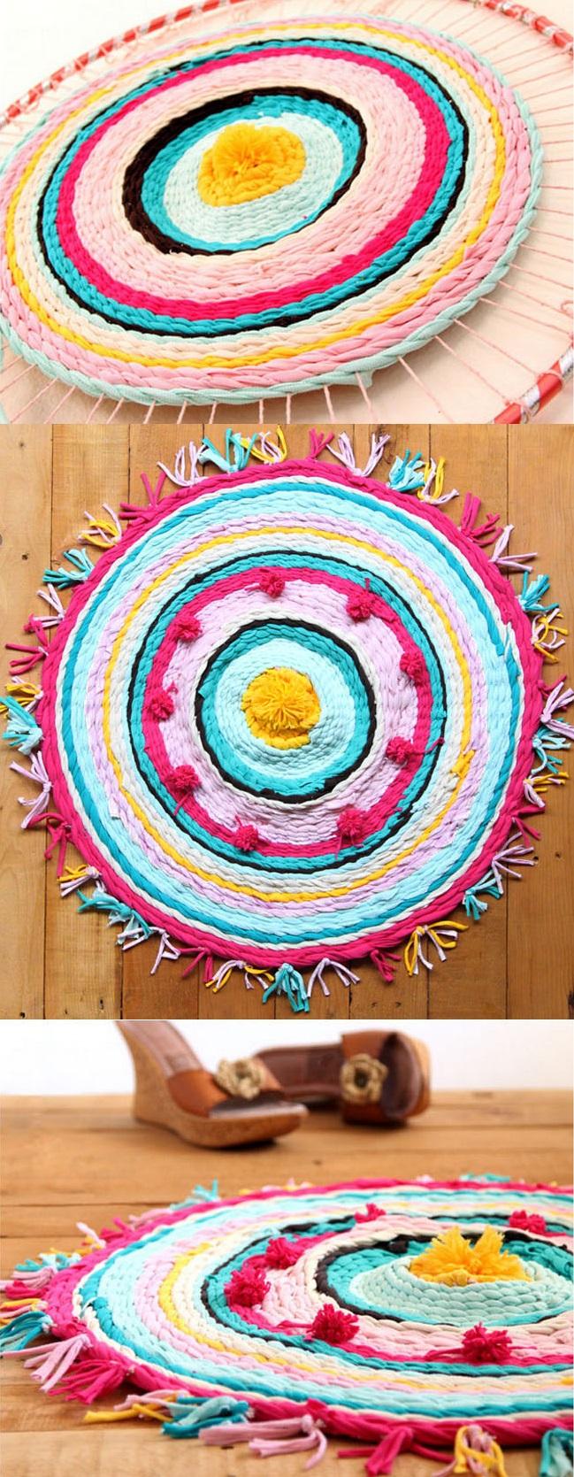 Как сделать круглый коврик, сплетенный из лент, нарезанных из старых футболок