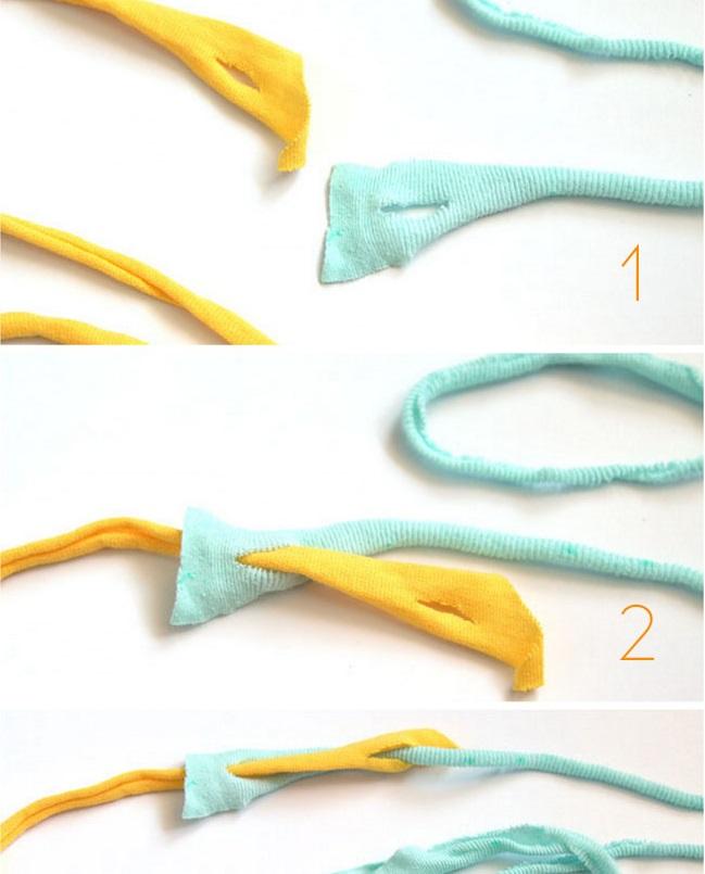 Чтобы соединить отдельные куски пряжи вместе, используется вот такая хитрая метода: кончики кусков надрезаются и просовываются друг в друга