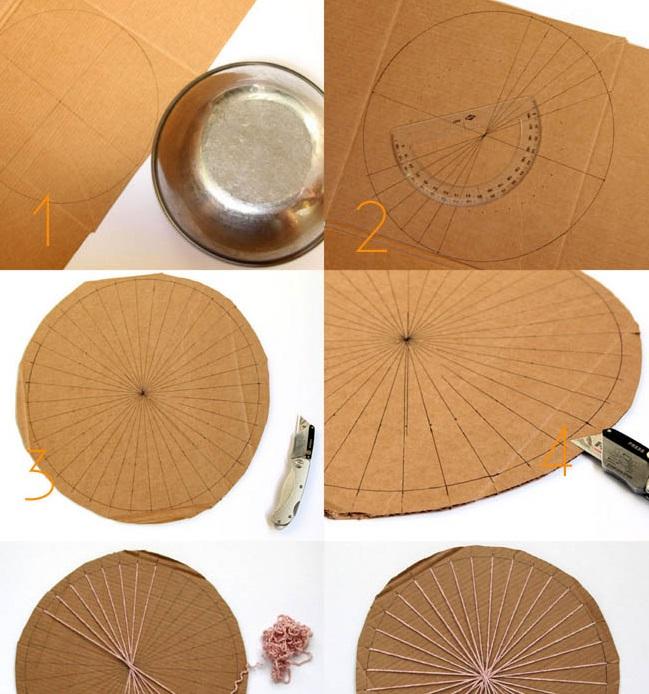 Делаем из картона и обруча подобие ткацкого станка для круглого коврика