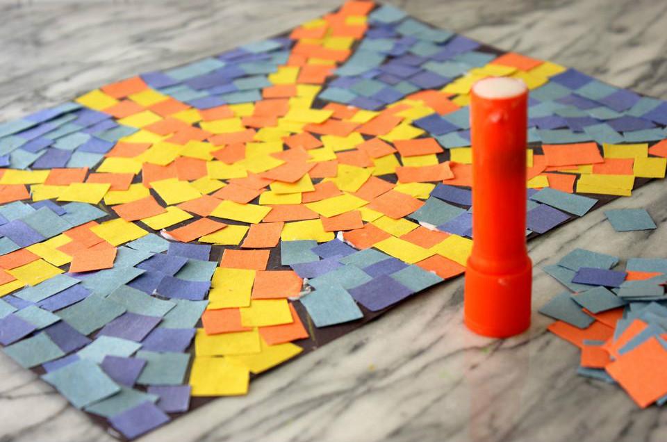 готовая бумажная римская мозаика в виде солнышка детские поделки