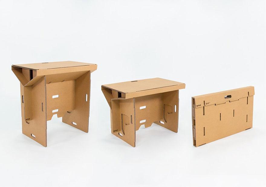 Как выглядят самые необычные и креативные столы в мире - складной стол из прочного картона, 3 варианта складывания