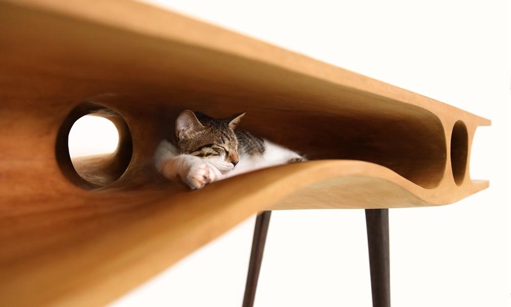 Как выглядят самые необычные и креативные столы в мире - стол с лазами для кошек