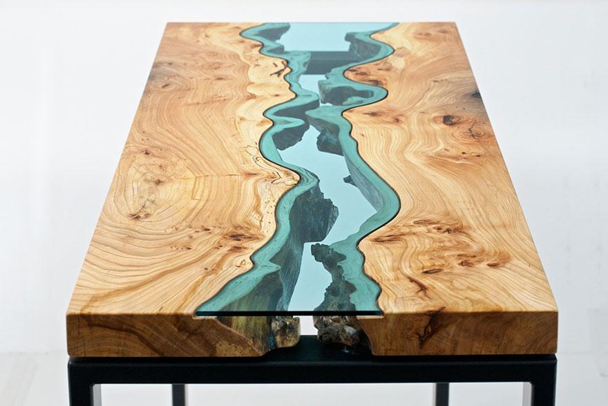 Как выглядят самые необычные и креативные столы в мире - имитация рек и озер, из стекла