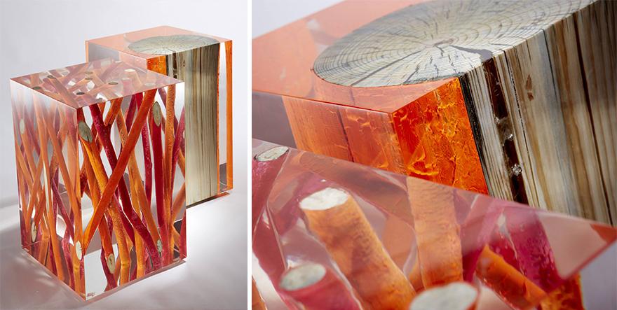 Как выглядят самые необычные и креативные столы в мире - стол из прозрачной резины, заполненной окрашенными и неокрашенными ветками