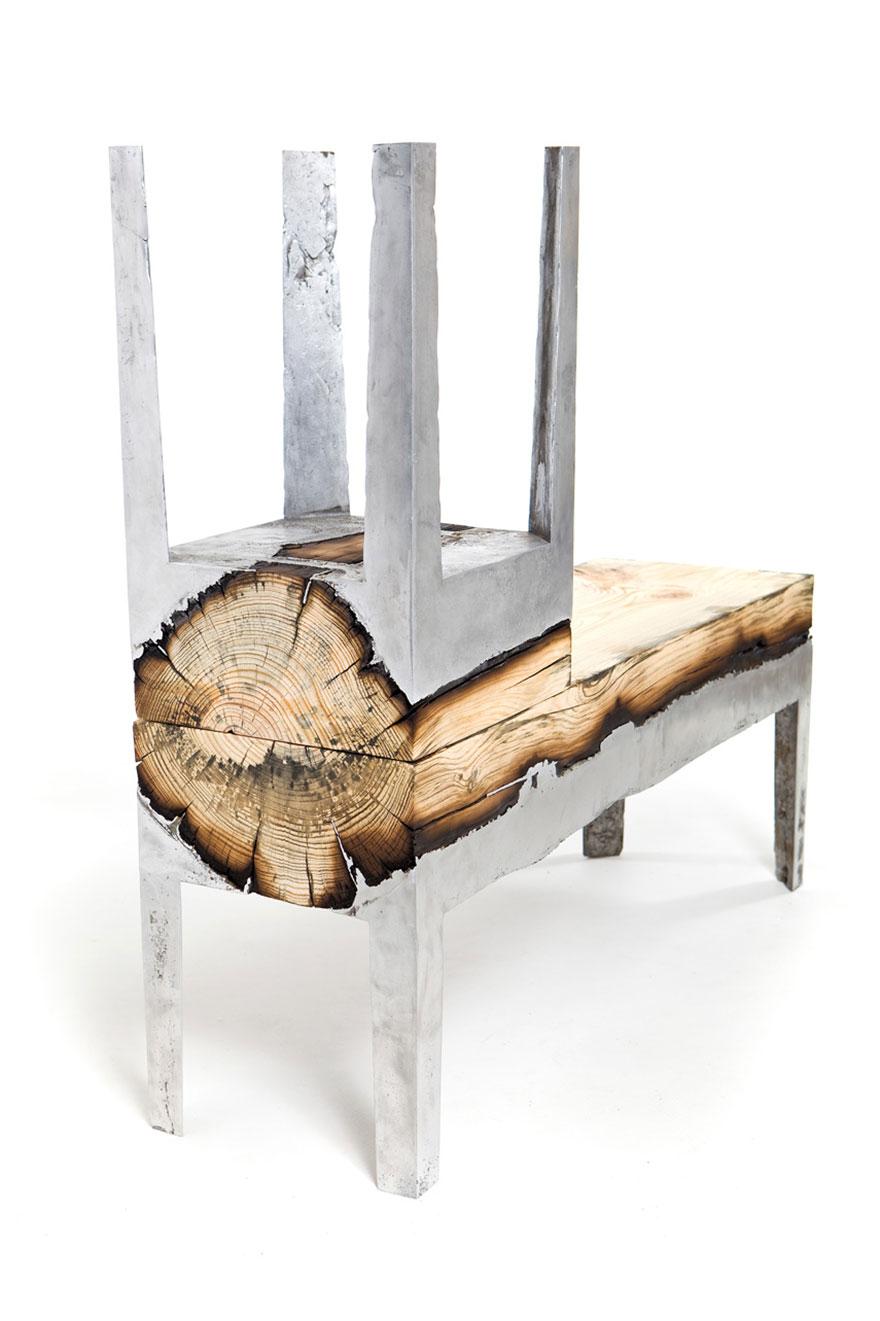 Как выглядят самые необычные и креативные столы в мире - сплав полена с алюминием
