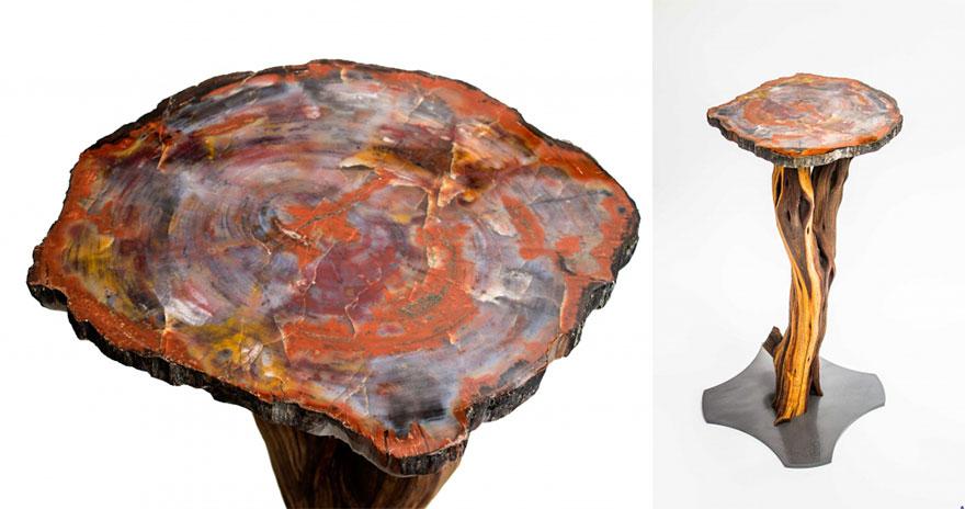 Как выглядят самые необычные и креативные столы в мире - стол из окаменевшего дерева с возрастом 225 млн. лет