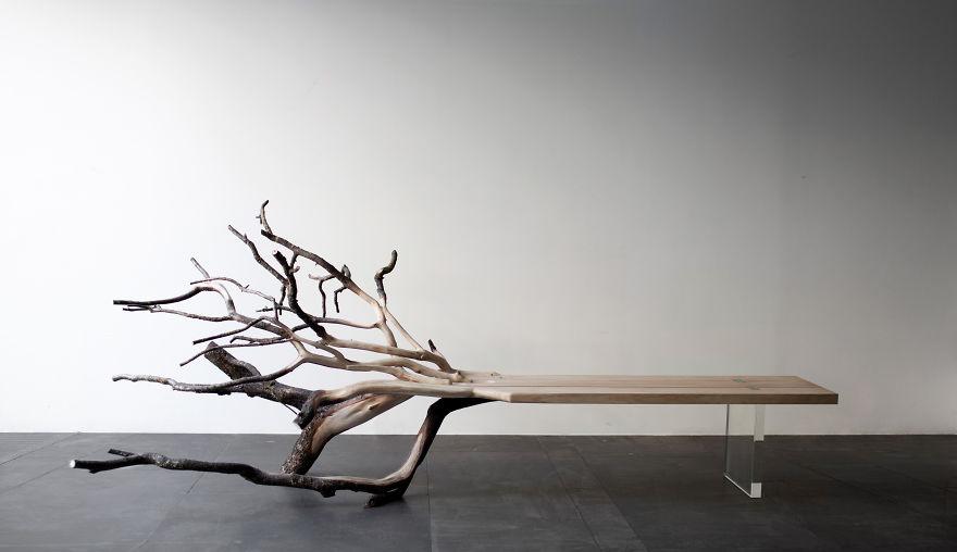 """Как выглядят самые необычные и креативные столы в мире - стол """"Упавшее дерево"""""""