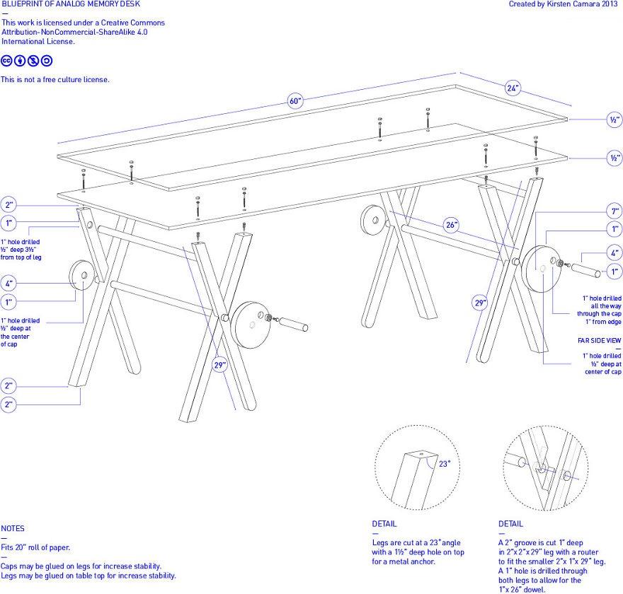 Как выглядят самые необычные и креативные столы в мире - стол с прокручивающейся на нем бумагой для записей, чертеж