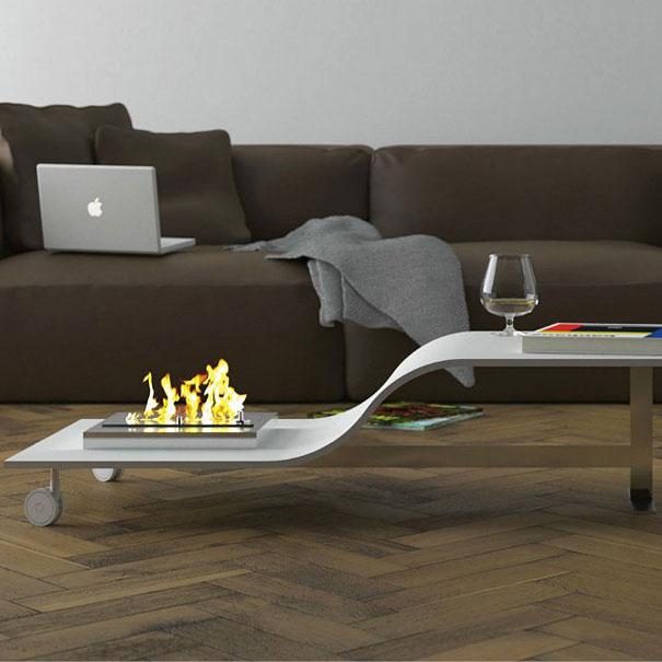Как выглядят самые необычные и креативные столы в мире - стол с костром для помещения