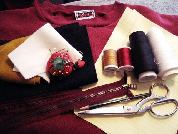 исходные материалы для свитера-костюма в виде морды кота с сюрпризом