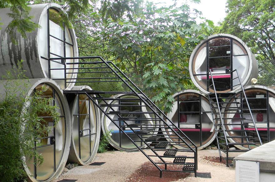Самые необычные отели мира: «Отель в трубах» (Tubohotel), Мексика - в бетонных сточных трубах