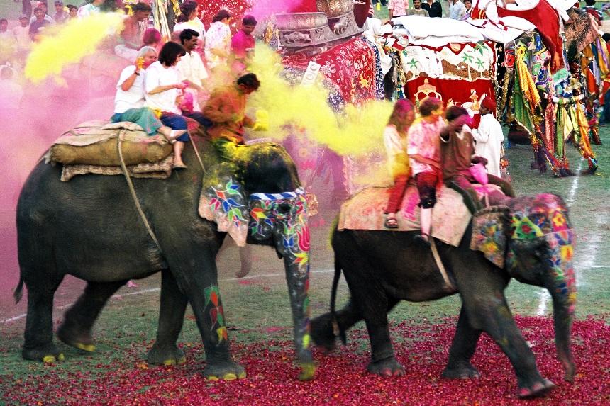 Фестиваль слонов в Джайпуре, Индия - гонка на слонах и перебрасывание краской