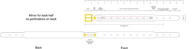 Примерную схему заготовки под ошейник и самого ошейника вы можете видеть на рисунке